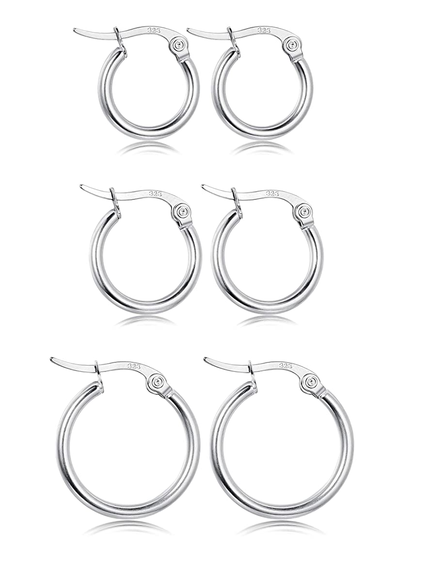 Fiasaso 3 Pairs 925 Sterling Silver Small Hoop Earrings For Women Girls Round Huggie Clip On Hoop Earrings Set 12MM 15MM 20MM