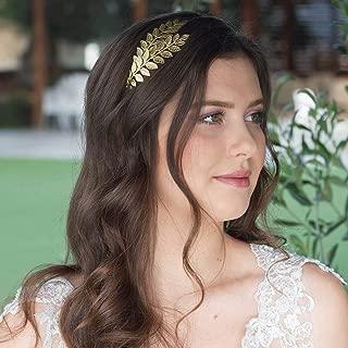 Barogirl Wedding Greek Goddess Headband Gold Laurel Leaf Bridal Headpiece Grecian Hair Crown Accessories for Brides (Rose Gold)