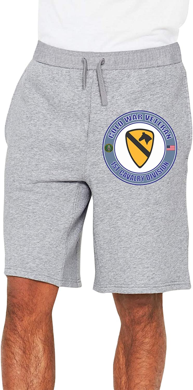 MHQCBL 1st Cavalry Division Iraq Combat Veteran Mans Loose Track Pants Work 1/2 Shorts with Pockets