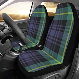 Cute Seat Covers for Women Gordon Tartan Fabric Texture Plaid Pattern Universal Fit Auto Car Seat Covers Protector for Auto Truck SUV Vehicle Women Lady (2 Front) Cover Car