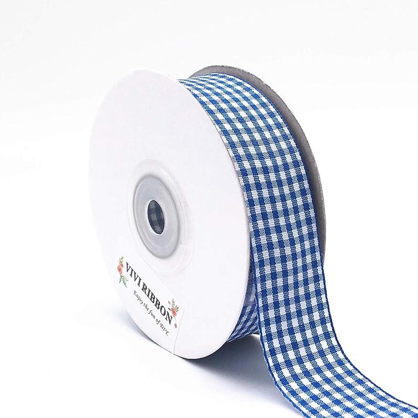 Blue Gingham Ribbon Checkered Ribbon 1-Inch 25 Yard Each Roll 100% Polyester Woven Edge (Blue)