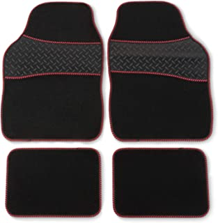 Safe Travel 27752 Universal Car Mats, Heavy Duty Rubber Heel Pad, Red Binding