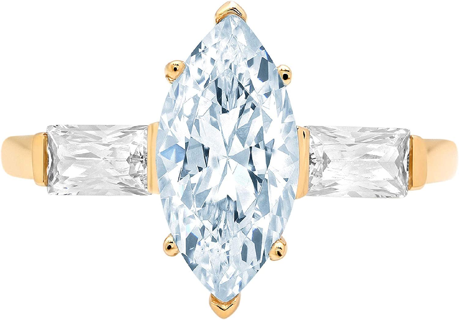 2 Super beauty product restock quality top! ct Marquise Baguette cut 3 Max 85% OFF Natural stone Solitaire Accent with