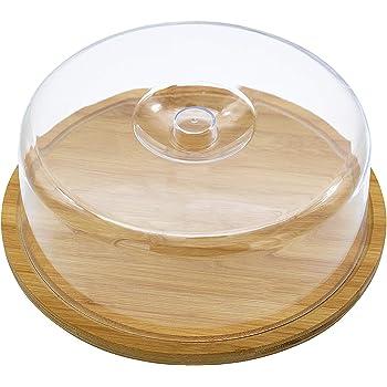 Quesera Redonda con Tapa de Plastico – Caja Queso Madera de Bambú – Ideal para Conservar Frescos tus Quesos - Diámetro Ø 30cm: Amazon.es: Hogar
