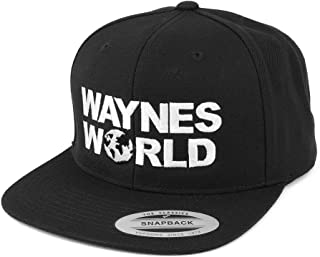 Flexfit Wayne's World Embroidered Flat Bill Snapback Cap - Black