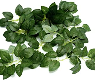 Febou Artificial Leaves, 50 Pcs Real Touch Artificial Green Leaves Rose Flower Leaves Plant Leaf for DIY Wedding Bouquets Centerpieces Party Decorations (Standard Type, Green Leaves)