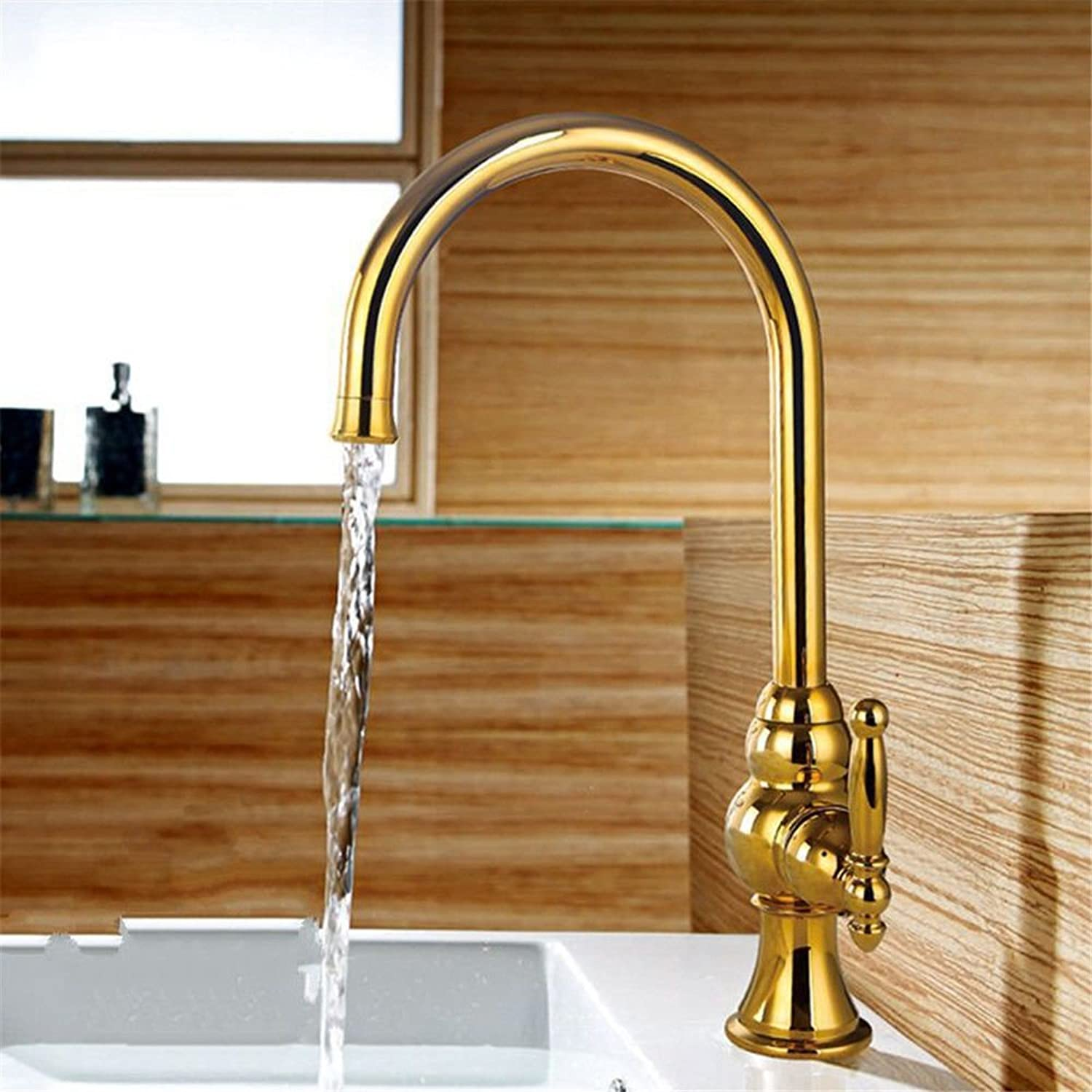 Gyps Faucet Basin Tap Waterfall Faucet Bathroom The gold over copper kitchen faucet lead-free green chrome plated dish washing basin washing basin, hot and cold water single hole swivel faucet B