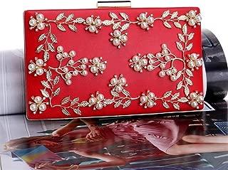 Redland Art Women's Fashion PU Leather Pearl Beaded Clutch Bag Wristlet Shoulder Crossbody Evening Handbag Catching Purse Bag for Wedding Party (Color : Red)
