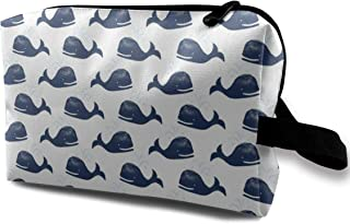 Happy Whales Travel Makeup Cute Cosmetic Case Organizer Portable Storage Bag for Women