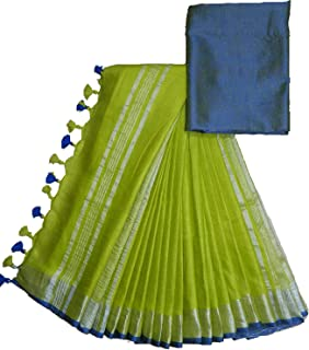 INDIA SILK PWCS LTD Women's Bhagalpuri Linen Saree With Un-stitched Blouse (CSZBP13_Green)