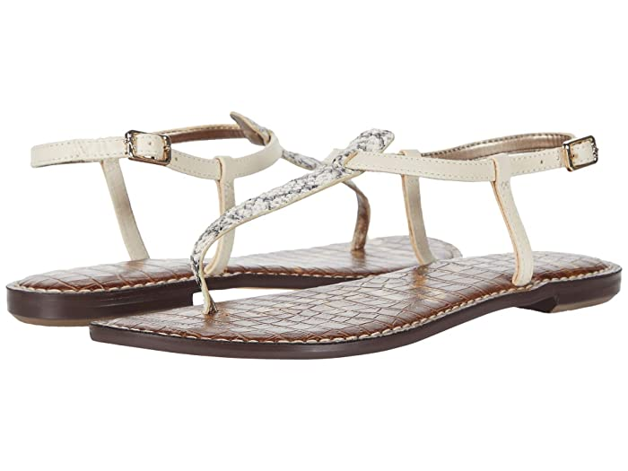 Sam Edelman  Gigi (Black/White/Modern Ivory Corolla Snake Print Leather/Heavy Texas) Womens Sandals