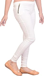 Malvina Girl's White Slim Fit Cotton Jegging