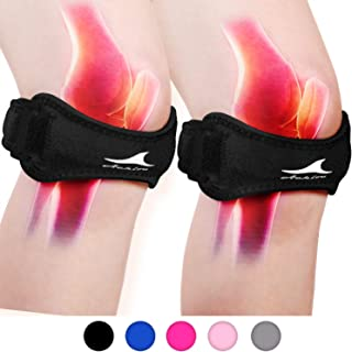 Achiou 2 Pack Patellar Tendon Support Strap, Knee Pain Relief with Silicone Adjustable Knee Band, Brace Stabilizer for Gym, Running, Hiking, Weight Lifting, Basketball, Volleyball, Jumpers