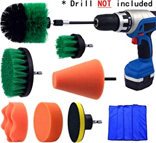 Multipurpose Drill Brush Scrubber Cleaning Set for Car Wheels, Car Seats, Car Carpet Medium Stiff Brushes, Car Wave Polishing Sponge, Wheels Tiles Hubs Care Power Cone Buffing Sponge, 9PCS/Set