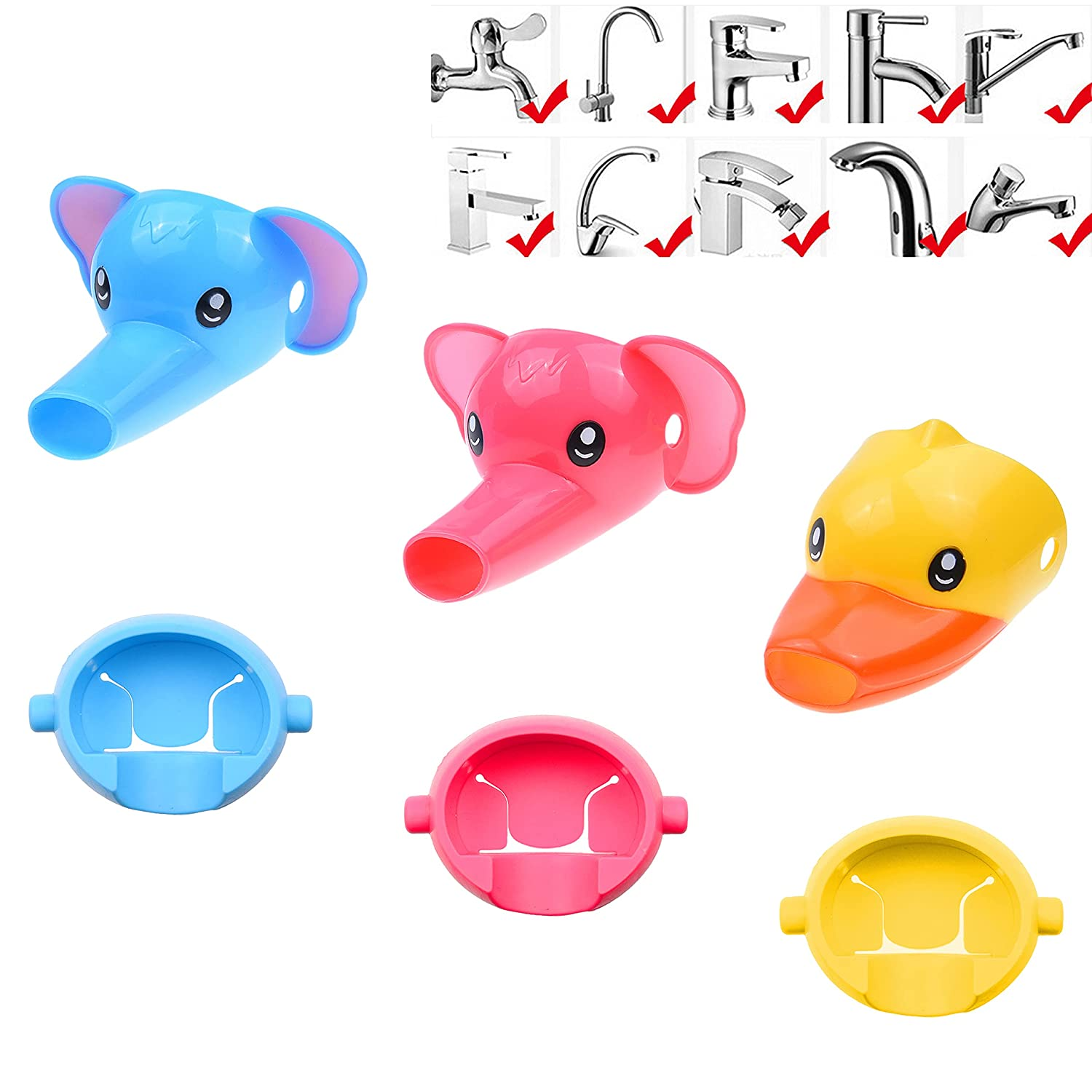 Kare & Kind Animal Shaped Faucet Extenders - 3 Pack - Fun Water Spouts for Toddlers, Kids, Children - Promotes Personal Hygiene and Handwashing - Colorful Yellow Duck, Pink and Blue Elephant Design