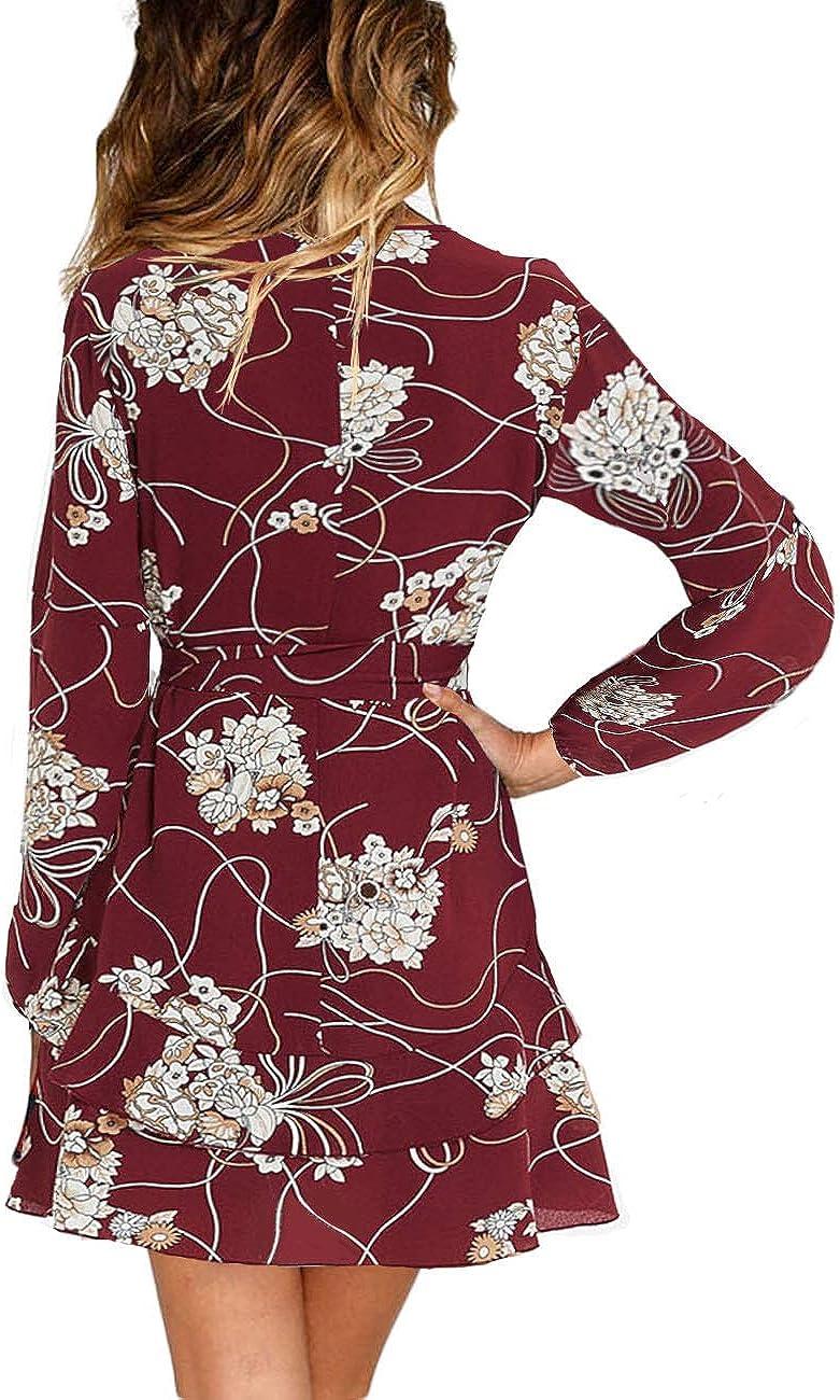 UGUEST Women Long Sleeve V Neck Dress Floral Mini Swing Party Wedding Dress with Belt