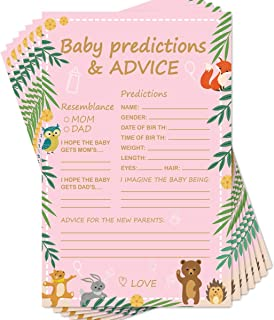 Baby Shower Game Ideas, Set of 50 Cards, Best Gender Neutral Reveal Party Activities Favors Supplies, 5.5 x 8.5Inches (Baby Predictions Advice)