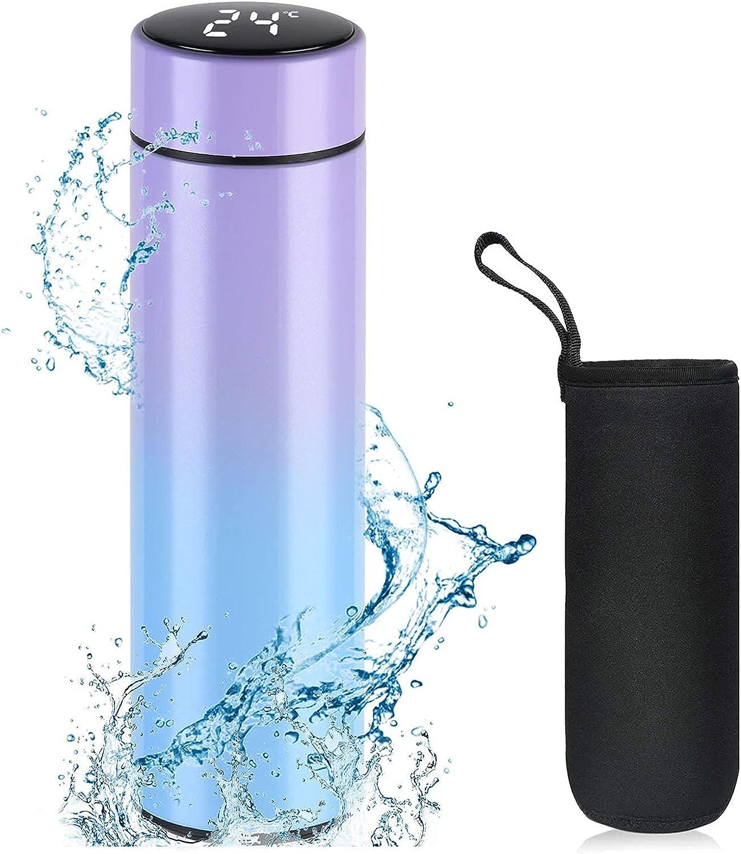 flintronic 18/8 Botella de Agua de Acero inoxidable de 500 ml, Termo con Tapa de Temperatura LED, Termo de Café de Acero Inoxidable para Oficina, Viajes-Morado degradado