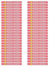 50 Etiquetas Adhesivas Minis Personalizadas para marcar objetos, lápices, bolis, etc. Medida 4,2 x 0,5 cm. Color Coral