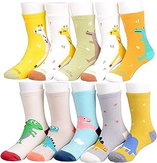 syisocks, Calcetines para niños, 10 pares valiosos de algodón, diseño de dinosaurio, estrellas, coches, jirafa, niñas, calcetines de 1 a 11 años