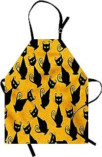 Ambesonne Vintage Apron, Black Cat Pattern for Halloween on Orange Background Celebration Graphic Patterns, Unisex Kitchen Bib with Adjustable Neck for Cooking Gardening, Adult Size, Orange Black