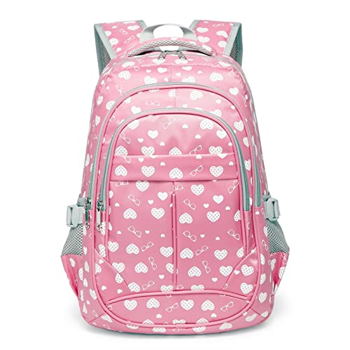 Hearts Print School Backpacks For Girls Kids Elementary School Bags Bookbag 9f80aa4f66ff4