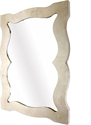 Benjara Traditional Style Wooden Wall Mirror with Bevelled Edges, Gold