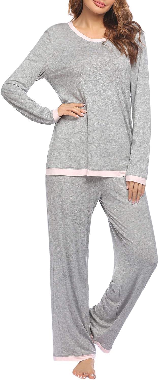 Ekouaer Women's Pajama Long Sleeve Sleepwear Two Piece Pajamas Set Soft Pj Lounge Sets S-XXL