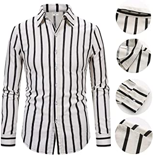 Mens Long Sleeve Casual Cotton Linen Striped Print Slim Shirt Tops Blouse Male Casual Business Lapel Button T-Shirts