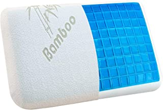 VECELO Bamboo Memory Foam Gel Pillow for Back Side,Neck Pain and Stomach Sleeper Removable and Washable Hypoallergenic Pillowcase,Extra Replacement Cover, Standard Size