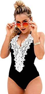 Blooming Jelly Women's Vintage One Piece Swimsuit Lace Tummy Control Halter Swimwear Bathing Suit