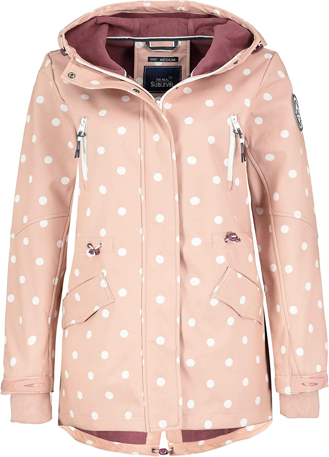 Sublevel Damen Softshell-Jacke Kurzmantel mit Kapuze & Print Light-rose-white