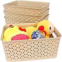 Weaving Plastic Storage Baskets/Bins Organizer with HandlesSet of 4Tan/KhakiHonla