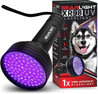 GearLight UV Black Light Flashlight XR98 - Powerful 100 LED Blacklight Flashlights, Pet Stain Detector for Dog Urine, Scorpions, and Bed Bugs - Works Great with Carpet Odor Eliminator and Remover