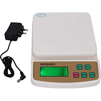 REXBURG® Electronic Kitchen Digital Weighing Scale with Tare Function with Adaptor (10 Kg-SF 400A) - White