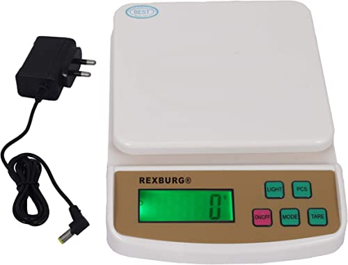 REXBURG Electronic Digital Weighing Scale Food Weight Scale for Home Kitchen Small Portable Weighing Scale for Food Products with Tare Function with Adaptor 10 Kg SF 400A White