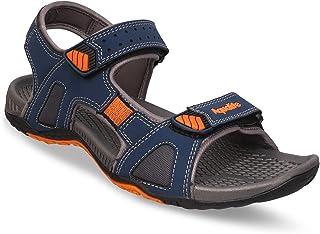 Aqualite Men's Synthetic Leather Navy Blue Orange Sandals