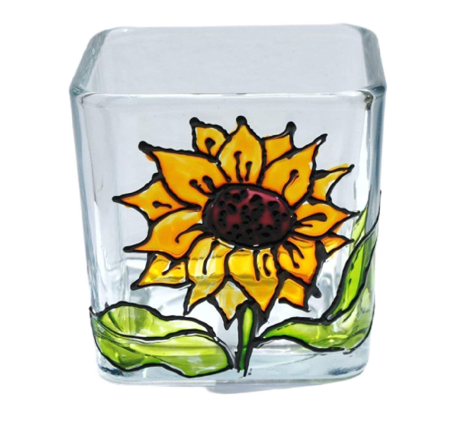 Yellow Our shop most popular Sunflower Hand Painted Stained Glass Holder Square Max 74% OFF Candle