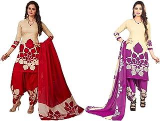 Jevi Prints - Pack of 2 Unstitched Women's Unstitched Synthetic Crepe Salwar Suit Dupatta Material (R-9159-9159_D)