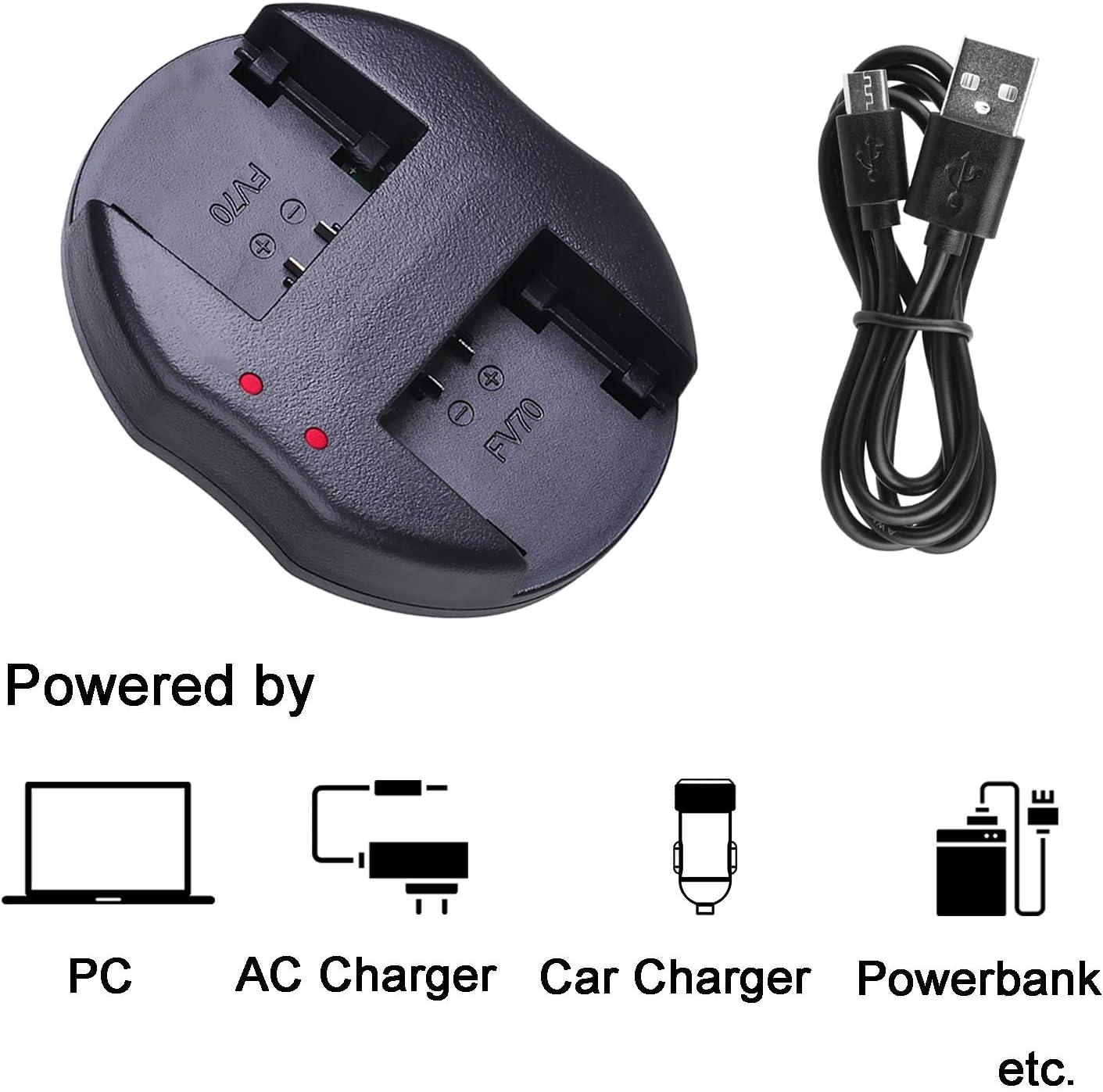 DCR-HC85 DCR-HC94 2 Pcs Battery and Dual Battery USB Charger for Sony DCR-HC65 DCR-HC96E Handycam Camcorder DCR-HC65E DCR-HC94E DCR-HC96 DCR-HC85E