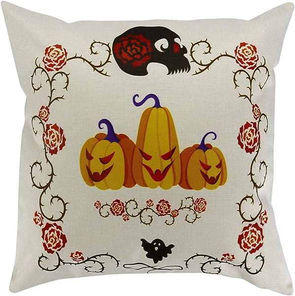 Pumpkin Halloween Throw Pillow Cover Cushion Cover 18 X18 Inch Cotton Linen Home D Cor