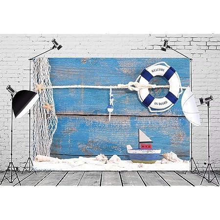 7x7FT Vinyl Wall Photography Backdrop,Nautical,Nautical Deep Sea Bottom Background for Baby Birthday Party Wedding Studio Props Photography