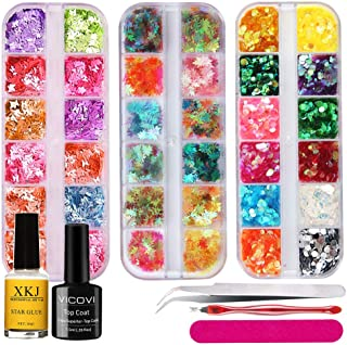 36 Boxes Nail Art Glitter Sequins Set - 3D Nail Art Decorations Manicure Tips Supplies Colorful Iridescent Flakes Nails DIY Mixed Star Moon Heart Mermaid shell Round Leaf Paillette Flake Design