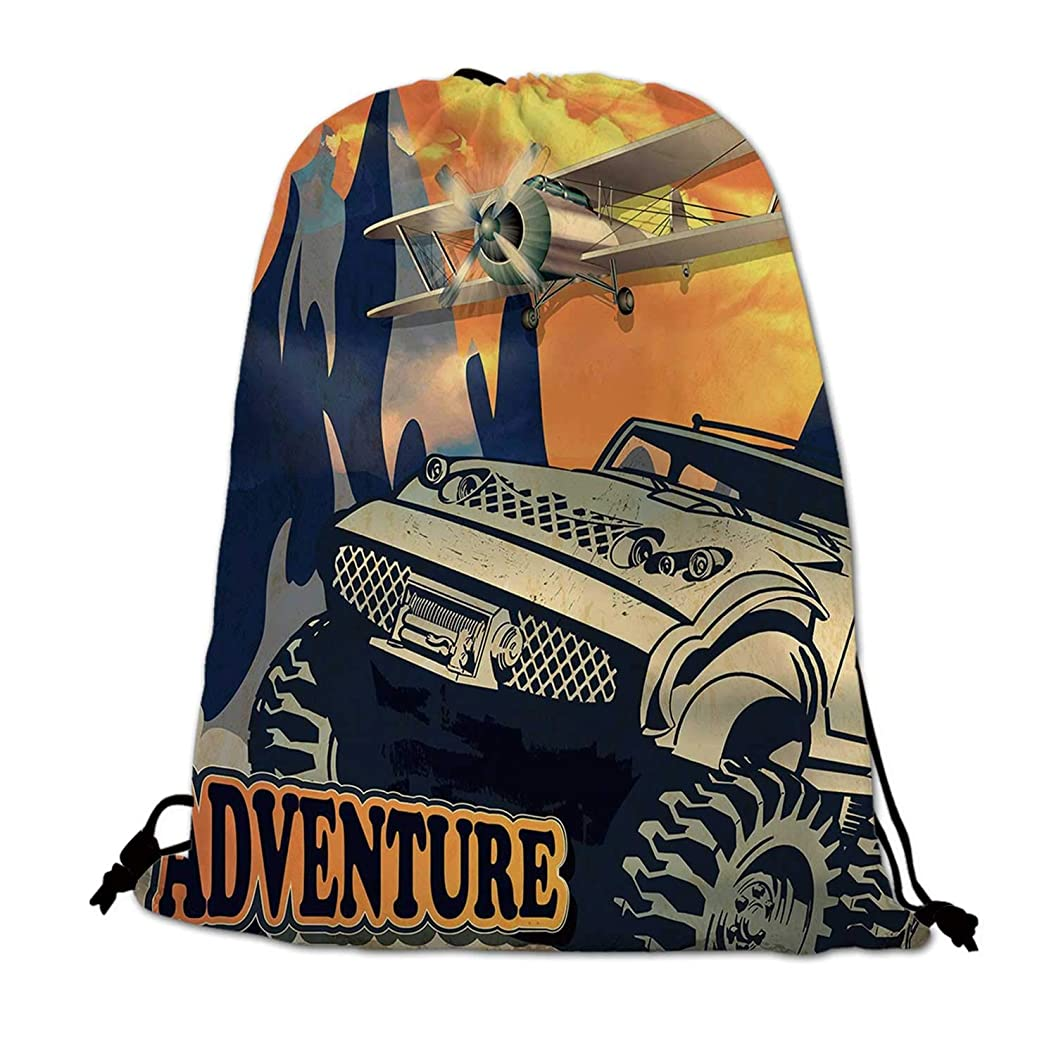 Adventure Lightweight Drawstring Bag,Grunge Retro Poster of a Big Car with Huge Tyres and Biplane on the Mountains for Travel Shopping,One_Size pjcnonagdqk82