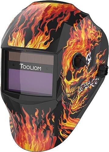 popular TOOLIOM True Color Welding Helmet Auto Darkening Welding Mask with Shade Range 9-13 Solar popular Powered Weld Hood Flaming Skull Style for TIG MIG online sale ARC outlet sale
