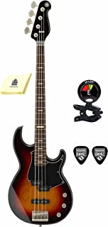 Yamaha BBP34 VS BB-Series 4 Strings Bass Guitar with Active Passive Electronic Package Includes Guitar Tuner with Guitar Picks and Zorro Sounds Guitar Polishing Cloth (Vintage Sunburst)