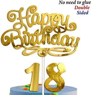Happy Birthday Cake Topper 18 Years - 18th Birthday Men Women Girls Boys Decorations Gold Anniversary 8 Eight Years 8th Bi...