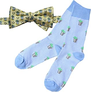Kentucky Derby Mens Mint Julep and Horseshoe Silk Bow Tie and Sock Set