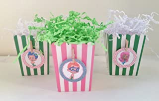 10 - Popcorn Boxes - Bubble Guppies Inspired Happy Birthday Collection - Pale Pink Polka Dots, Baby Blue Glitter Background & Spring Green and White Accents - Party Packs Available