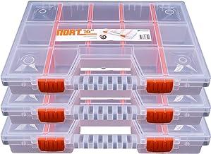 3 cajas organizadoras de plástico NORT16, transparentes y apilables